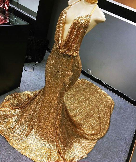Sexy Gold Mermaid Prom Dress, Sexy Deep V Neck Mermaid Long Evening Dress