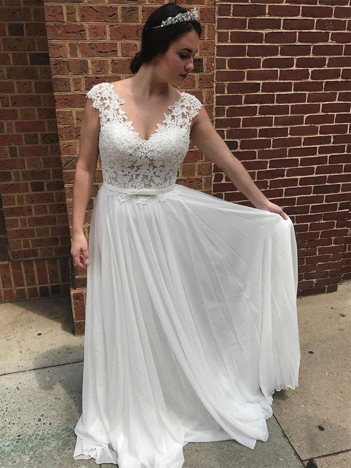 Elegant Prom Dress, White Prom Dresses,  Appliques Evening Dress