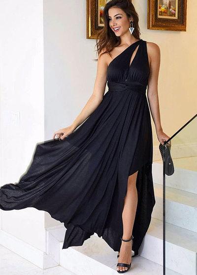 Black Chiffon One Shoulder Prom Dresses A-line Long Cheap Evening Formal Dress