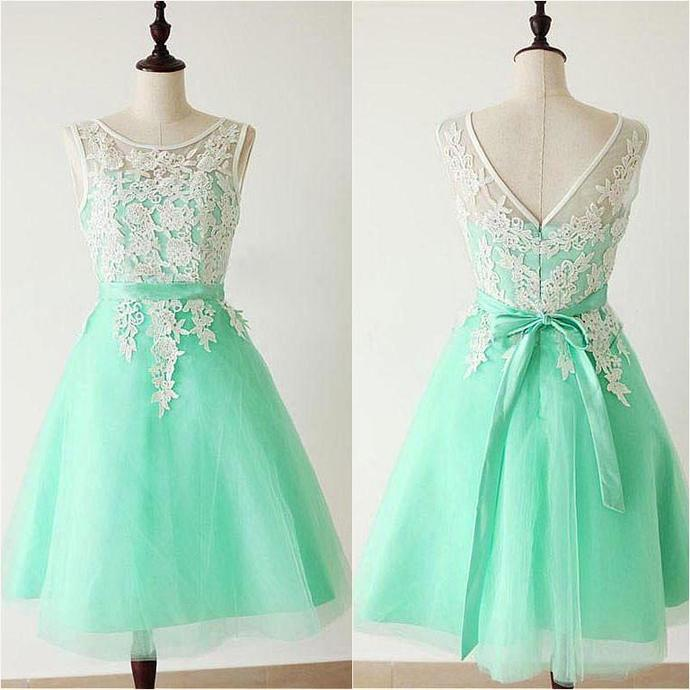 Elegant Prom Dress, Green Tulle Homecoming Dress, Short Prom Gown