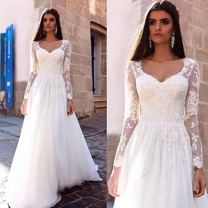 Sexy Lace Appliques White Long Sleeve Wedding Dress
