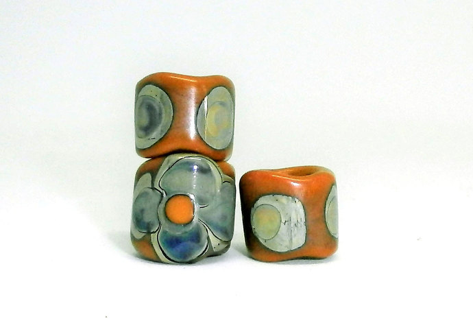 Glass Dread Lock Beads, Hair Jewelry, Lampwork Hair Beads, Hedge Witch Jewels