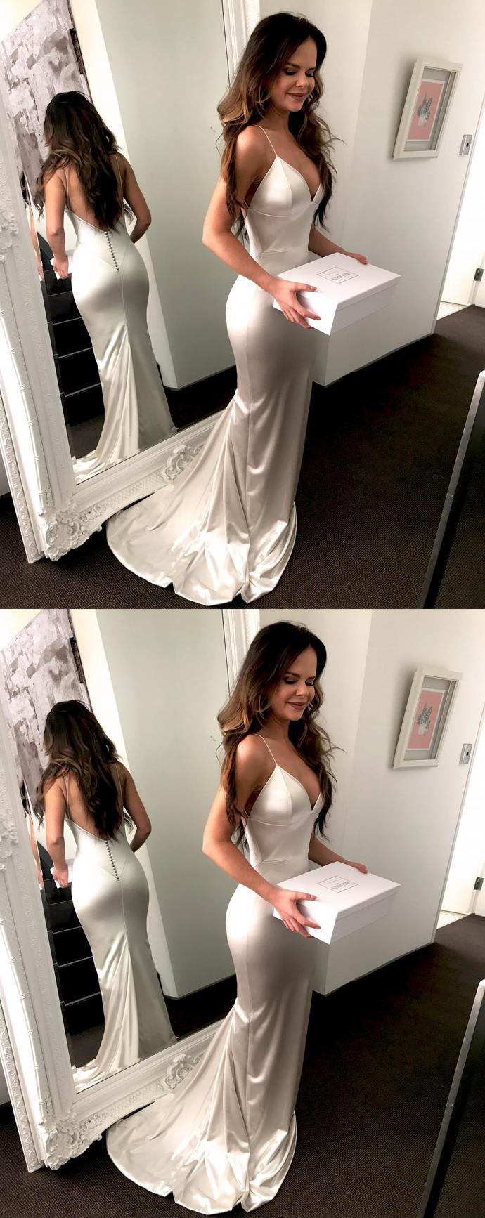 Mermaid Prom Dress Evening Dress, Spaghetti Straps Prom Dresses, Cowl Back Open