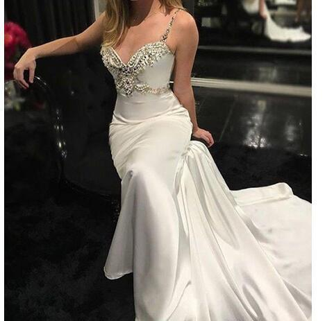 High Quality V -Neck Mermaid Wedding Dresses Backless Court Train Satin Crystal