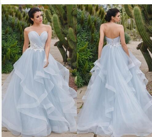 ff95653dc Simple Style Skye Blue A Line Wedding Dresses Sweetheart Neck With White  Lace