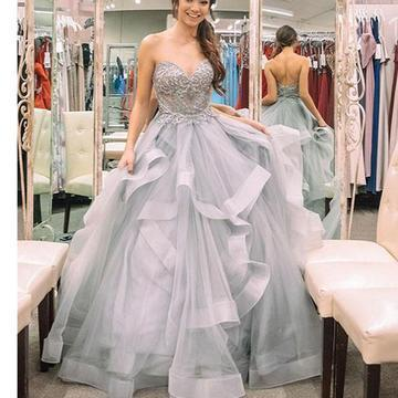 efe1965a1ef Silver Strapless Ball Gown Prom Dress Ball Gown Sweetheart Beaded  Quinceanera