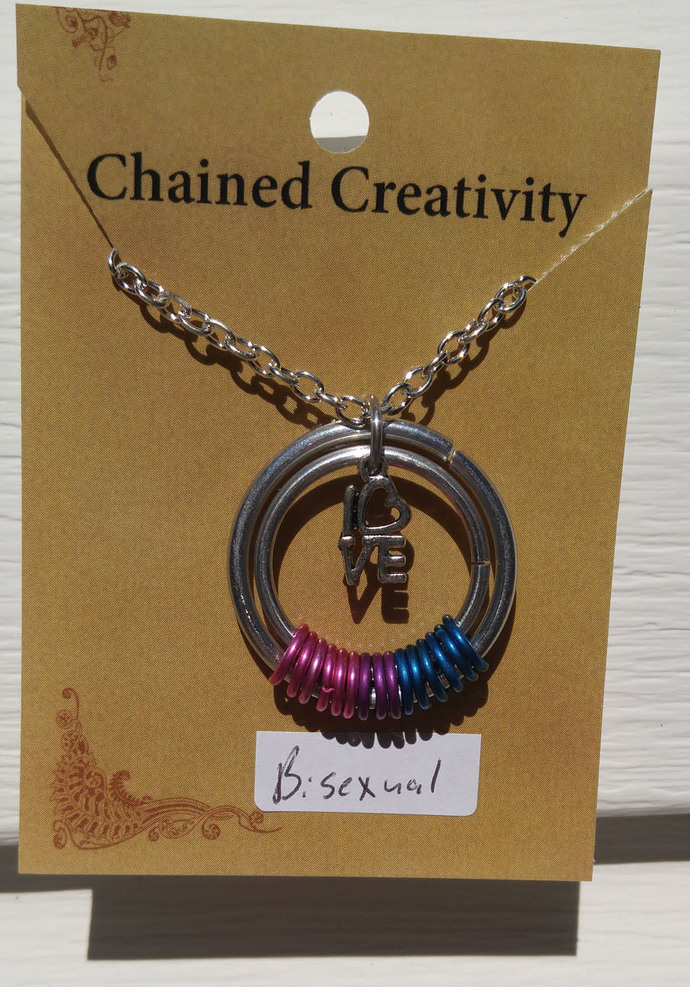 Asexual necklace, Pride pendant, Asexual necklace, chainmaille