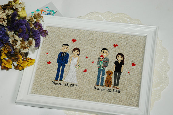 5th Anniversary gift for Husband or Wife Custom family portrait 5 year wedding