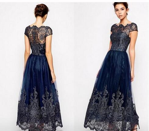 Vintage Mother off bride dresses Cheap Cap Sleeve Plus Size Tulle Navy Blue  Lace Appliques Long Ankle Length Women Formal Mothers Gowns