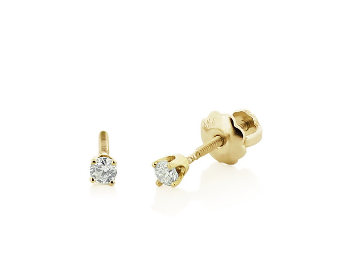 Baby Diamond Stud Earrings, 14K Yellow Gold Genuine White Diamond Stud Earrings
