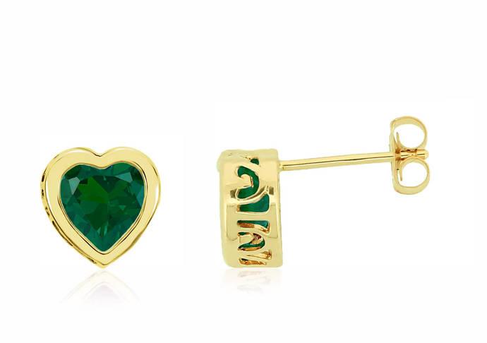 14K Yellow Gold Bezel Set Quality Lab Created Green Emerald Gemstone Heart Stud