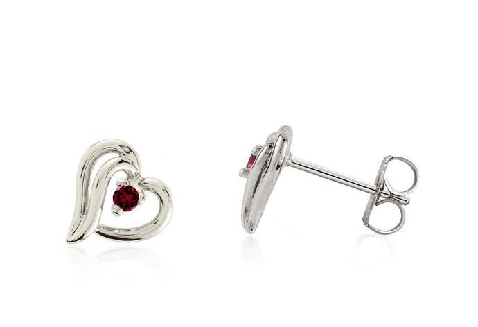100% 14K White Gold Heart Shaped Genuine Red Garnet Gemstone Solitaire Accent