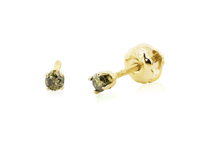 Baby Diamond Earrings 14k Yellow Gold By Jewelryrockbenchtop On