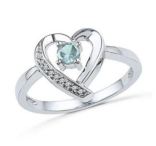 Sterling Silver Blue Aquamarine & Diamond Accent Heart Ring, March Birthstone,