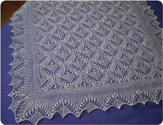 Hand Knitted Christening Shawl Baptism Shawl By Knitandlace On Zibbet