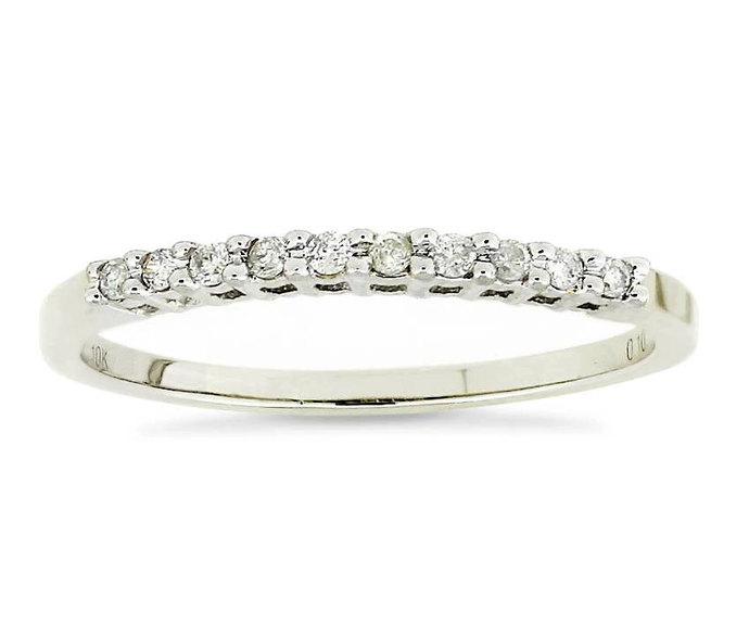 Diamond Band - 10K White Gold Genuine Diamond Engagement, Anniversary or Wedding