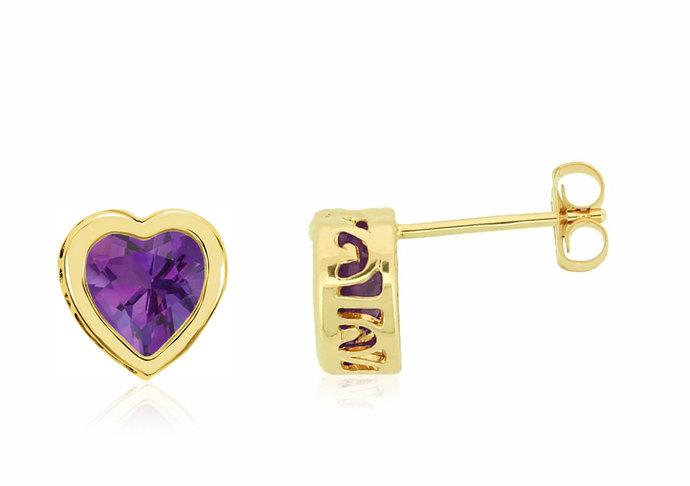 f9484e317 14K Amethyst Heart Earrings - 14K Yellow Gold Bezel Set Genuine Amethyst