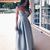Light Blue Satin Prom Dresses Long A-line Evening Dresses Spaghetti Straps