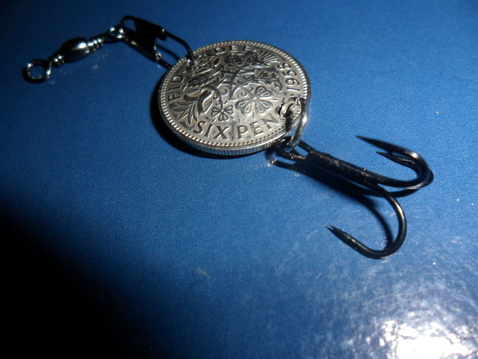 60th Birthday Fishing Gift Lucky 1958 British Sixpence Coin Lure