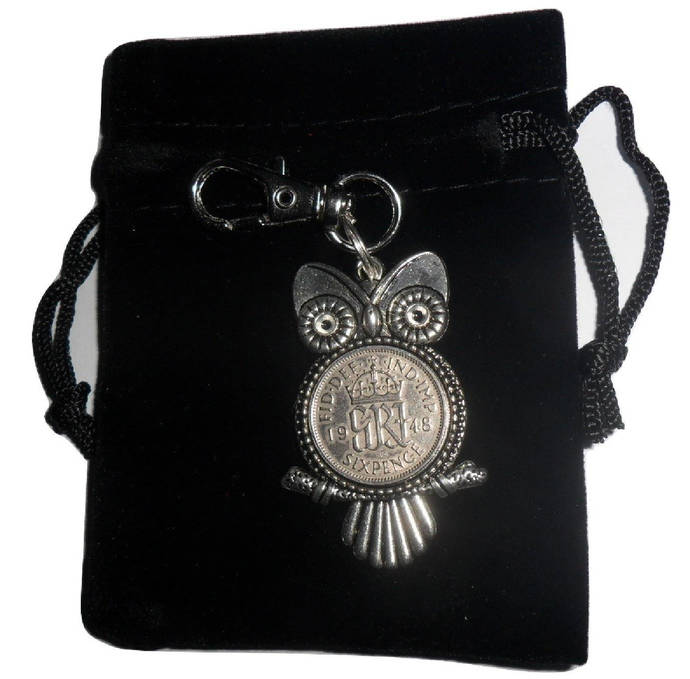 70th Birthday Gift For A Woman Owl Bag Charm Keyring With British 1948
