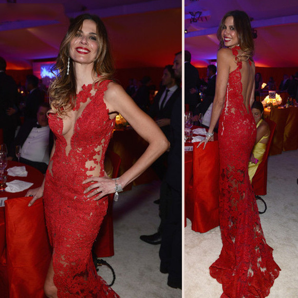 098202dc38f Red Lace Prom Dresses Mermaid Long Sleeveless Evening Dresses Backless  Formal