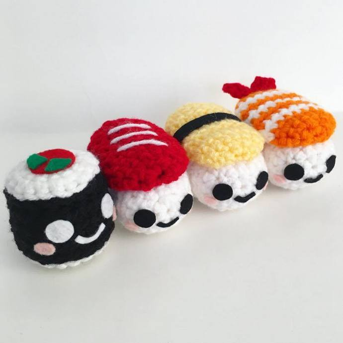 Sushi Key Chains - Crochet Amigurumi