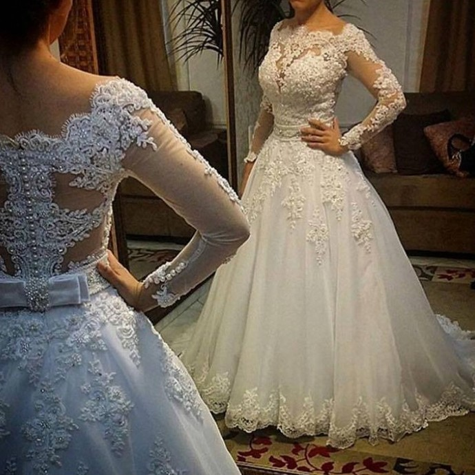 Sexy Lace Appliques White Long Sleeve Wedding Dress, Tulle Bridal Dress