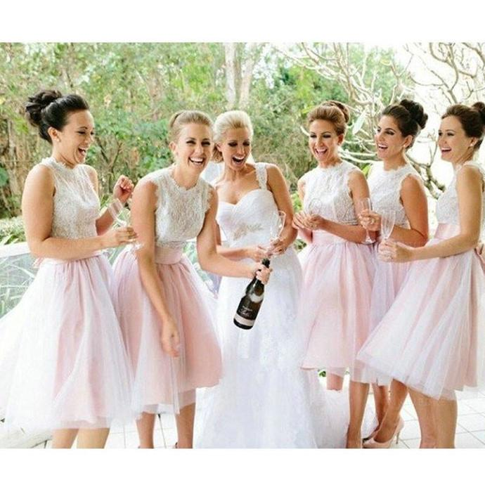 Elegant Bridesmaid Dress, Knee Length Tulle Bridesmaid Dresses