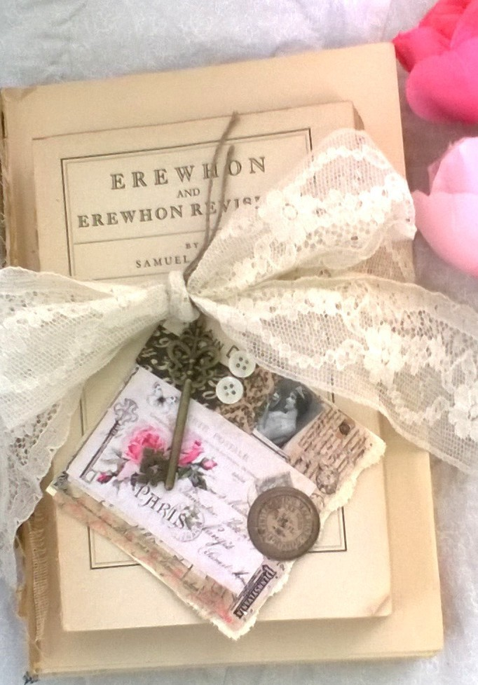 Vintage Book Stack Tied with Lace, Includes Mixed Media Card and Skeleton Key