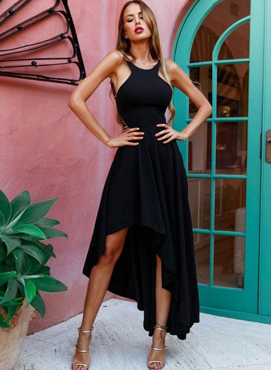 Simple Black Halter High Low Prom Dressblack By Prom Dresses On