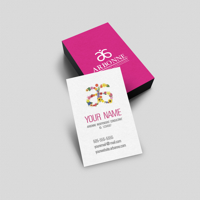 Arbonne Flowers Logo- Vertical Business Card - Digital or printed