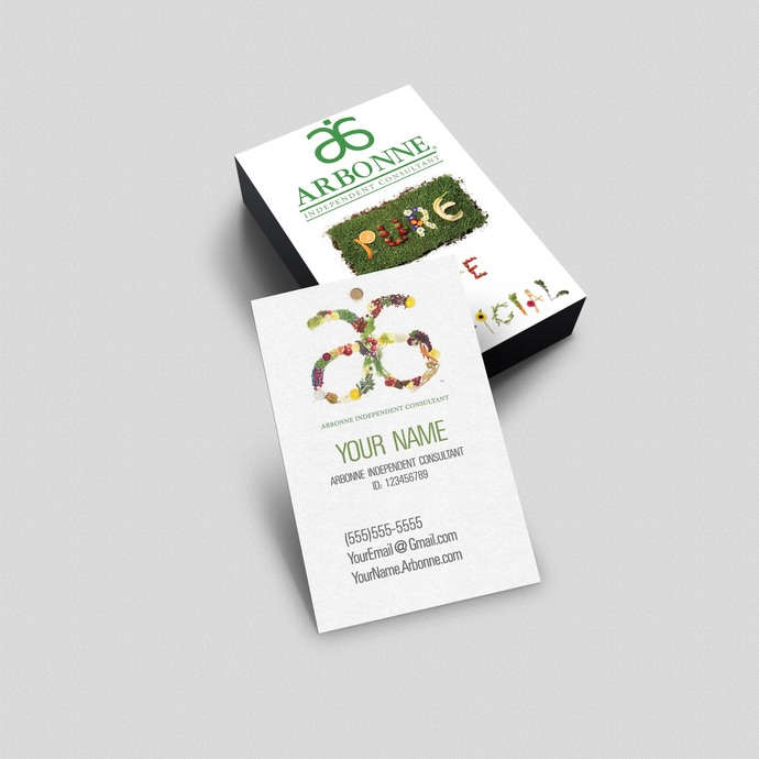 Arbonne pure vertical business card by okprintables on zibbet arbonne pure vertical business card digital or printed colourmoves