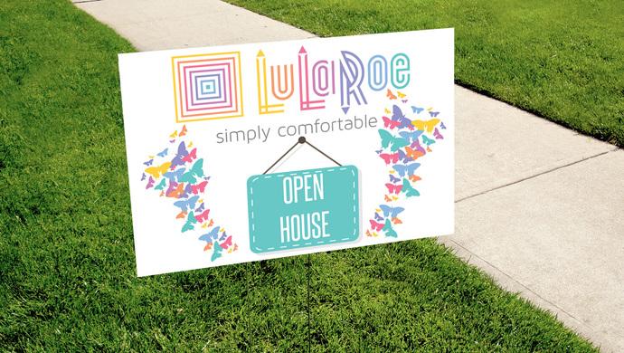 Pop-up Boutique OPEN HOUSE Yard Sign - Digital - Lularoe- Butterflies