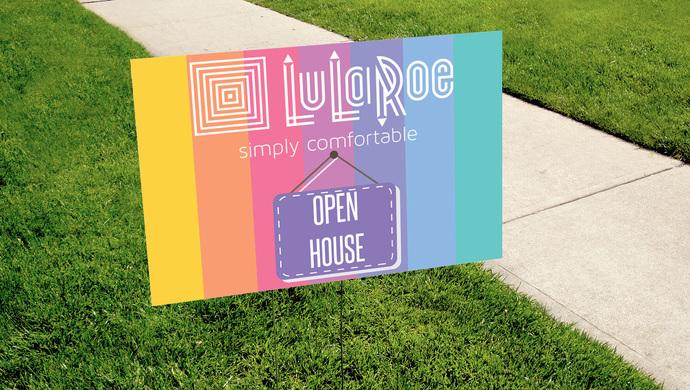 Pop-up Boutique OPEN HOUSE Yard Sign - Digital - Lularoe- Stripes