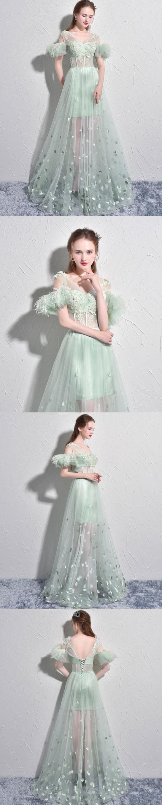 Sexy Prom Dresses A-line Short Sleeve Sage Long Prom Dress Tulle Evening Dress