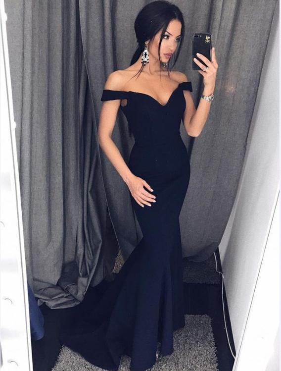 Sexy Mermaid Off-Shoulder Black Satin Long Prom Dress Evening Dress
