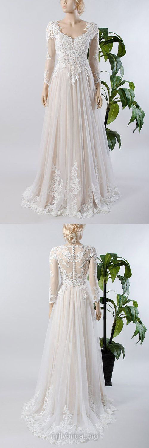 Custom Made Wedding Dresses, A-line Wedding Dresses, V-neck Wedding Dresses,