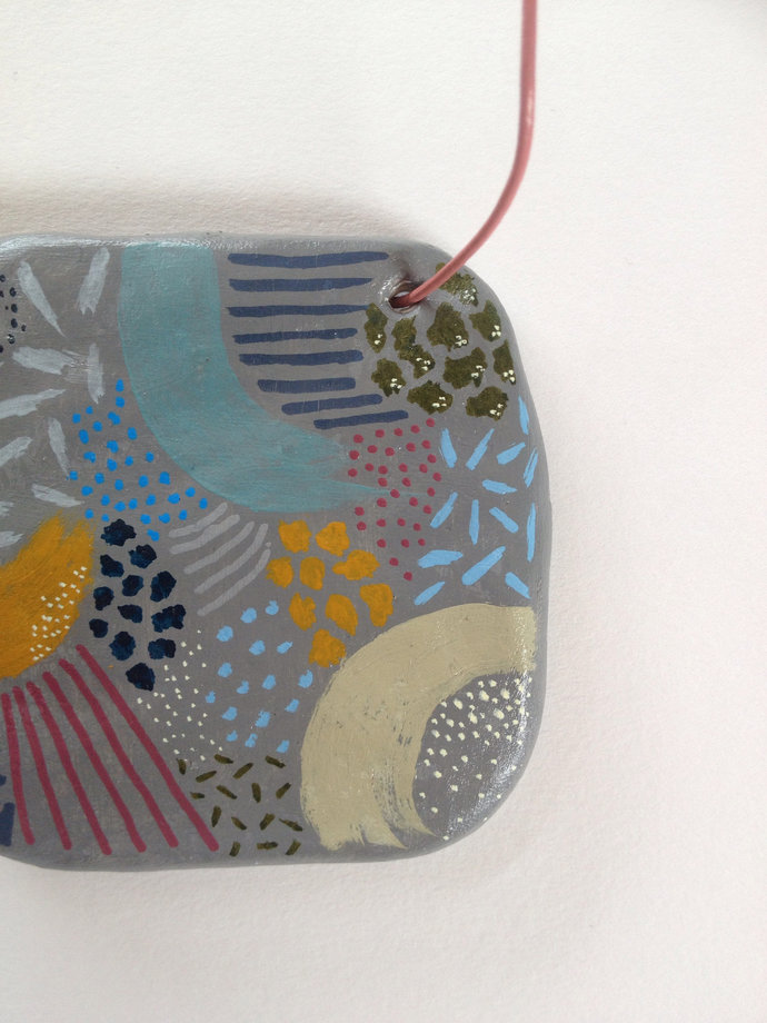 Small Hand Painted Clay Wall Hanging - Pattern - Colour - Hand Drawn - Wall