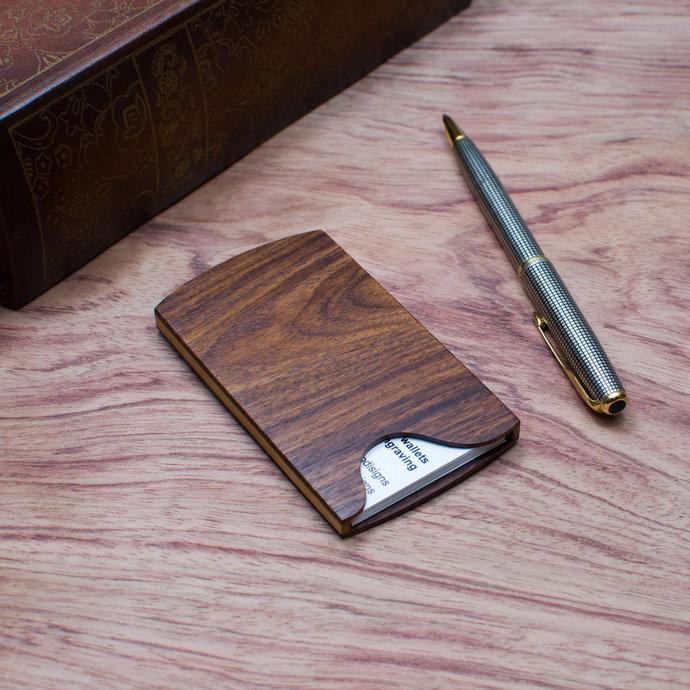 Handmade slim wood business card holder case by touchwood on zibbet handmade slim wood business card holder case kingwood colourmoves