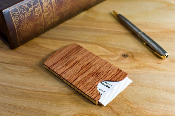 Handmade slim wood business card holder bubinga by touchwood on zibbet handmade slim wood business card holder bubinga wood colourmoves