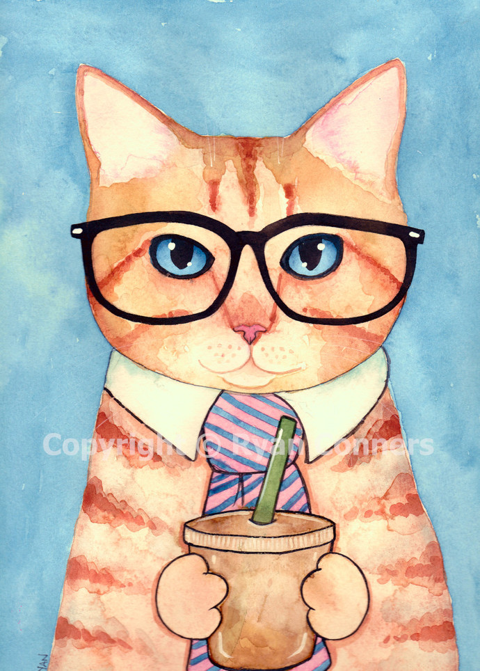 Working Cat With Iced Coffee Original Cat Folk Art Watercolor Painting