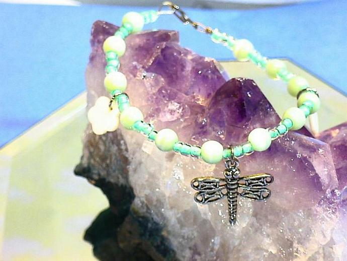 Eye of the Dragonfly bracelet. Aqua, cats eye green and mother of pearl flowers