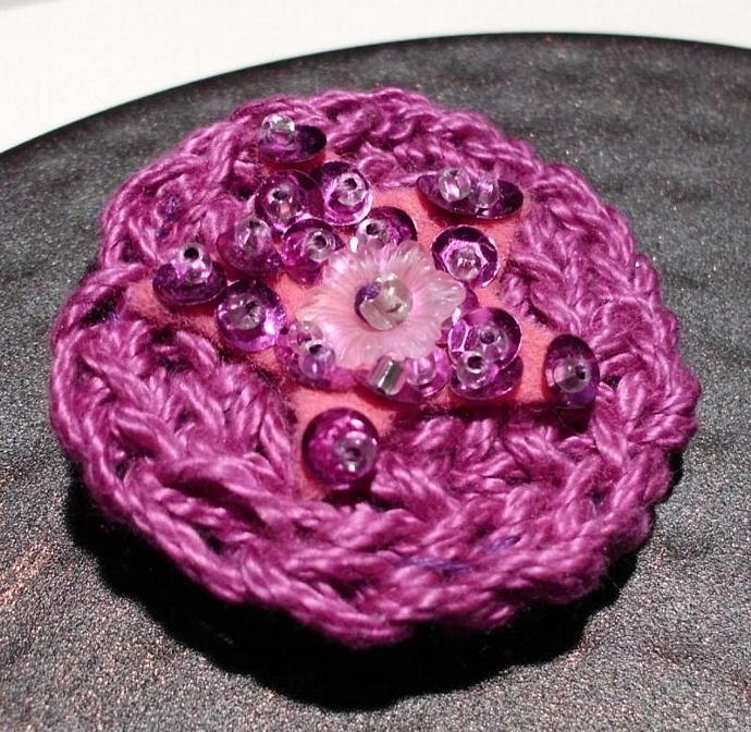 Little Purple Star Crchet Brooch Pin