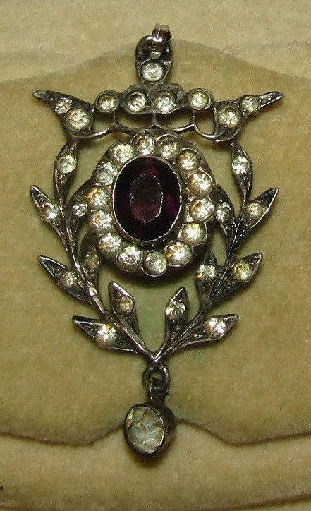 Fine Antique Amethyst Diamond Paste Pendant
