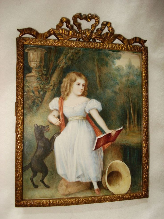 Rare Miniature Gouache Portrait Queen Victoria As A Young Girl