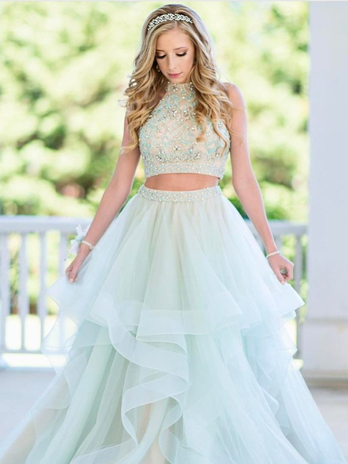 Two Piece Prom Dresses High Neck A Line Rhinestone Sexy Long Tulle Prom Dress