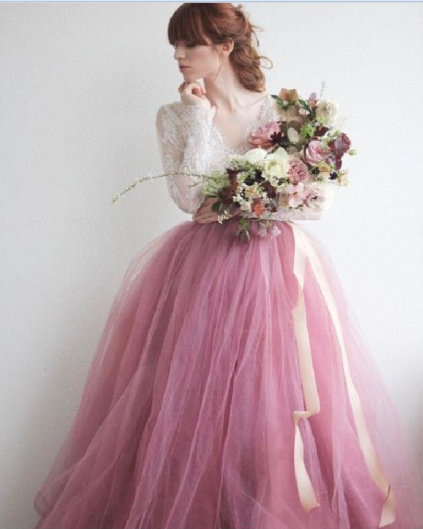 BEAUTIFUL V NECK WEDDING DRESS PINK LONG SLEEVE LACE TULLE LONG PROM DRESSES
