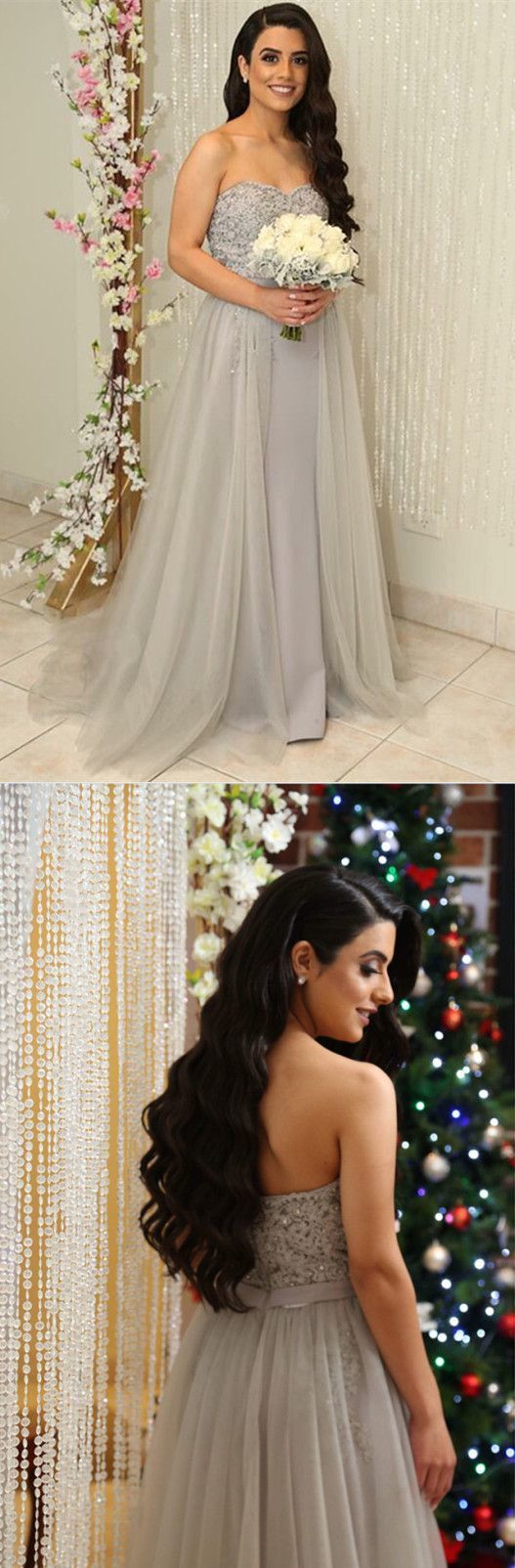 Gray Tulle Bridesmaid Dresses Long Formal Gowns Lace Appliques Sweetheart Prom