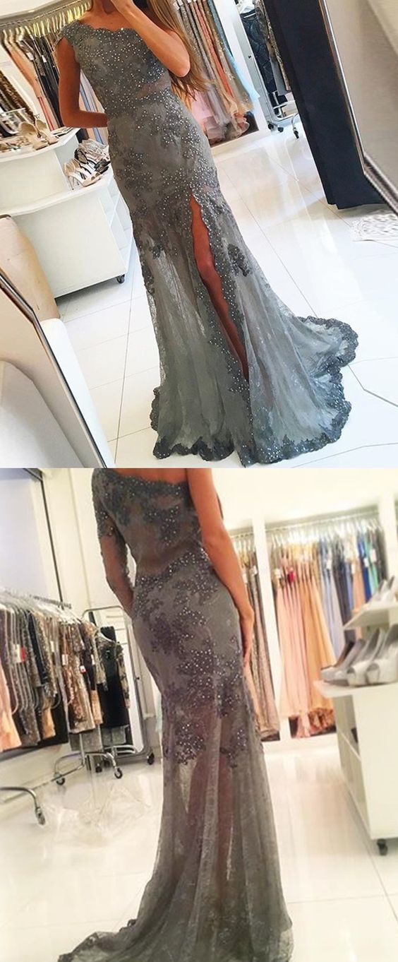 Sheath One Shoulder Grey Tulle Prom Dress with Beading Appliques Split Dresses