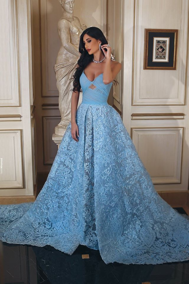 Gorgeous Blue Lace Sweetheart Strapless Ball Gown Long Prom Gown Dresses